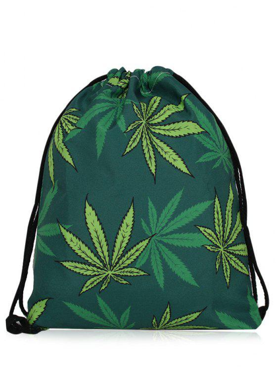 chic Nylon Printed Drawstring Bag - DEEP GREEN