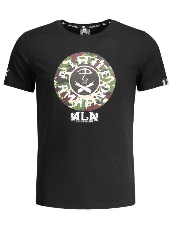 T-shirt imprimé graphique à camouflage à manches courtes - Noir XL