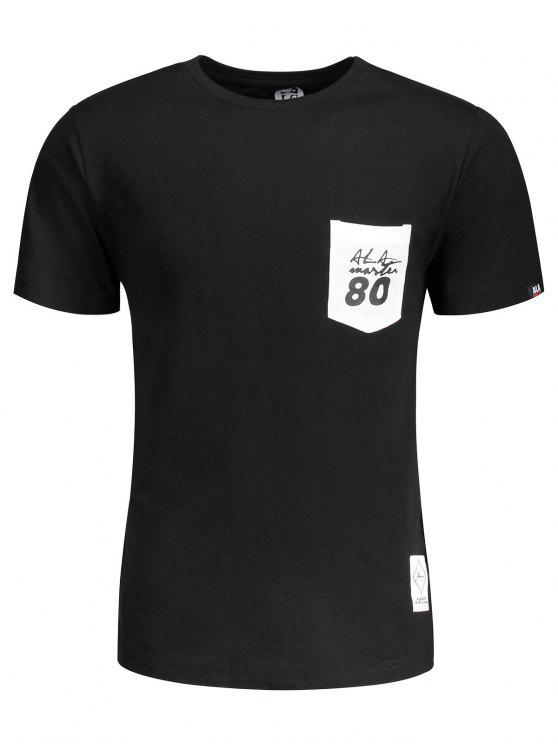 T-shirt à Lettre Patché à Poche Manches Courtes - Noir 2XL