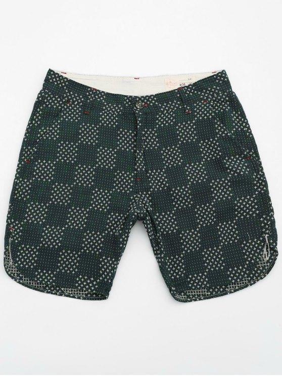 Herrn Bermuda Shorts aus Baumwolle mit Stickereien - Grün 30