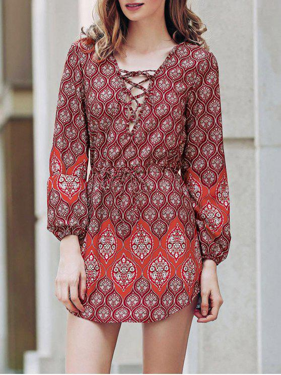 Lose Digital Print Round Neck Langarm-Kleid - Rot XL