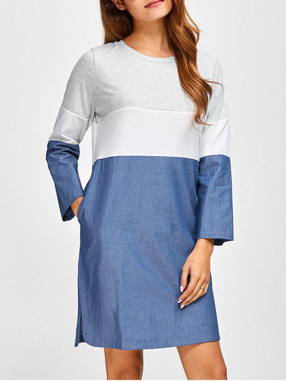 buy Color Block Denim Spliced Dress - DENIM BLUE 2XL
