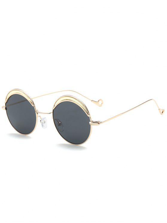 Round Two-tone Splicing Hollow Out Leg Sunglasses - Preto