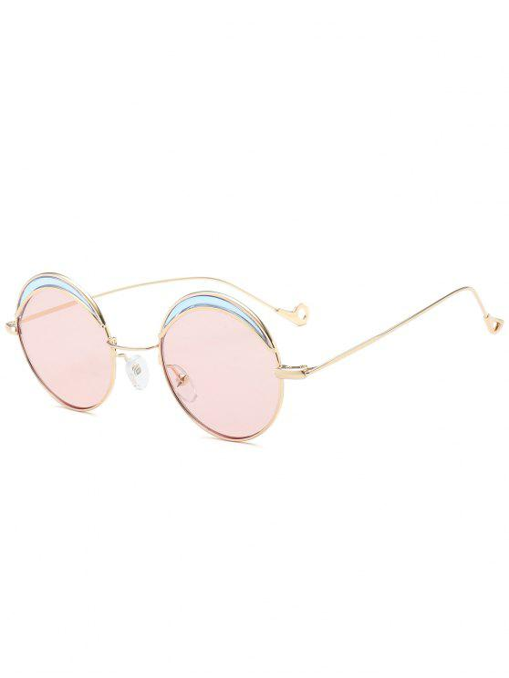 Round Two-tone Splicing Hollow Out Leg Sunglasses - Rosa Claro