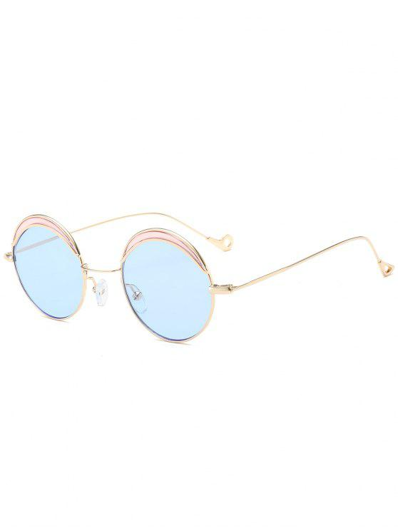 Round Two-tone Splicing Hollow Out Leg Sunglasses - Azul claro