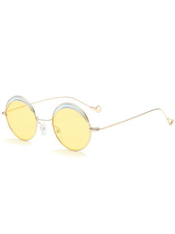 Ronda de dos tonos de empalme hueco hasta la pierna gafas de sol - Luz amarilla