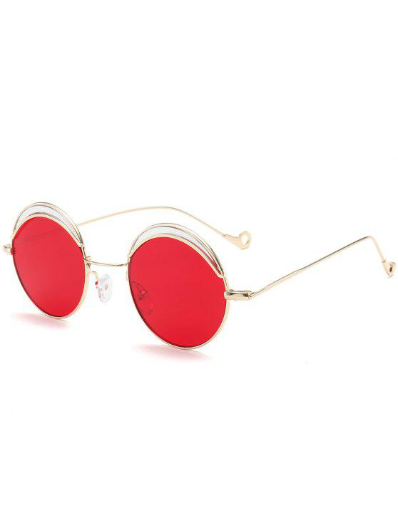 women Round Two-tone Splicing Hollow Out Leg Sunglasses - BRIGHT RED
