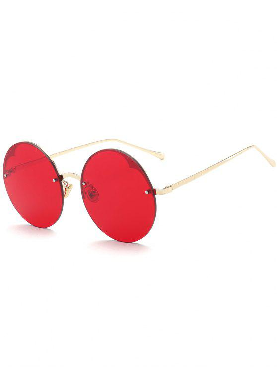 women's Round Semi-rimless Sunglasses - BRIGHT RED