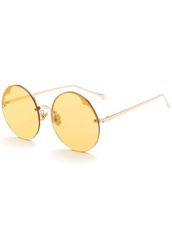 lady Round Semi-rimless Sunglasses - YELLOW
