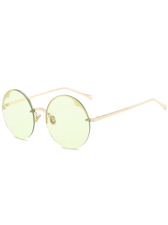 hot Round Semi-rimless Sunglasses - LIGHT GREEN