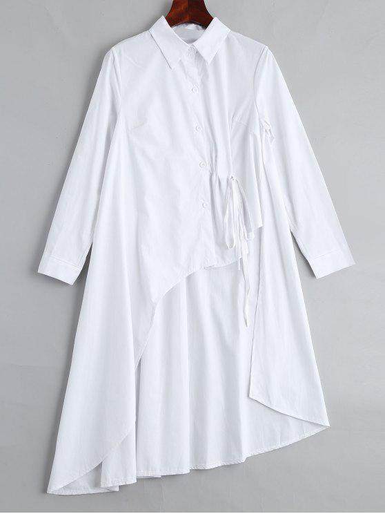 Blouse Asymétrique Longue Boutonnée - Blanc Taille Unique