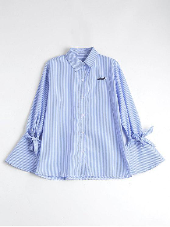 fashion Button Up Flare Sleeve Striped Shirt - BLUE STRIPE L