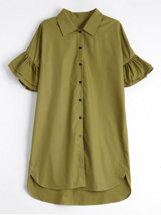 affordable Button Up Tiered Flare Sleeve Dress - CELADON M