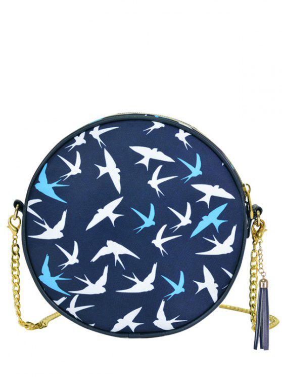 best Chain Tassel Canteen Cross Body Bag - DEEP BLUE