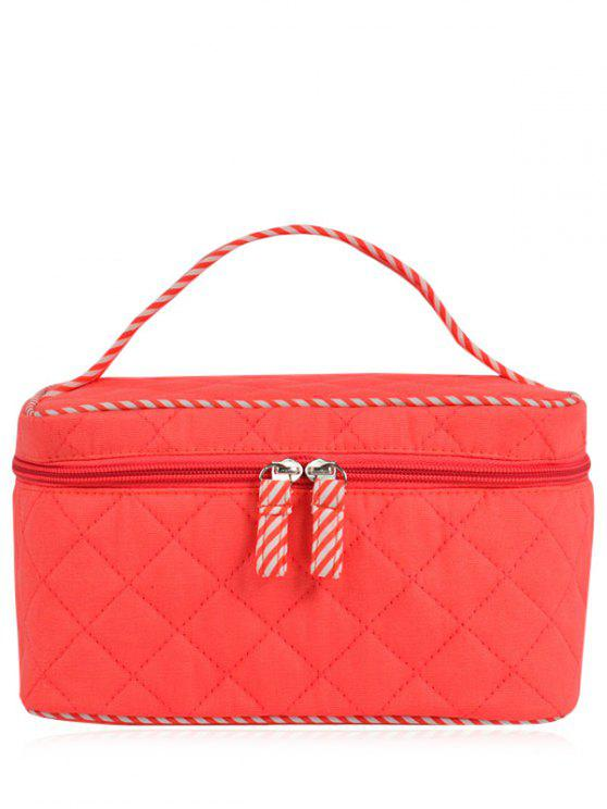 hot Quilted Top Handle Cosmetic Bag - WATERMELON RED