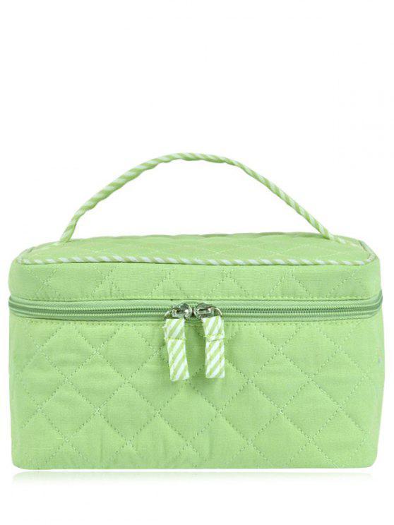 Bolso cosmético acolchado superior de la manija - Verde Claro