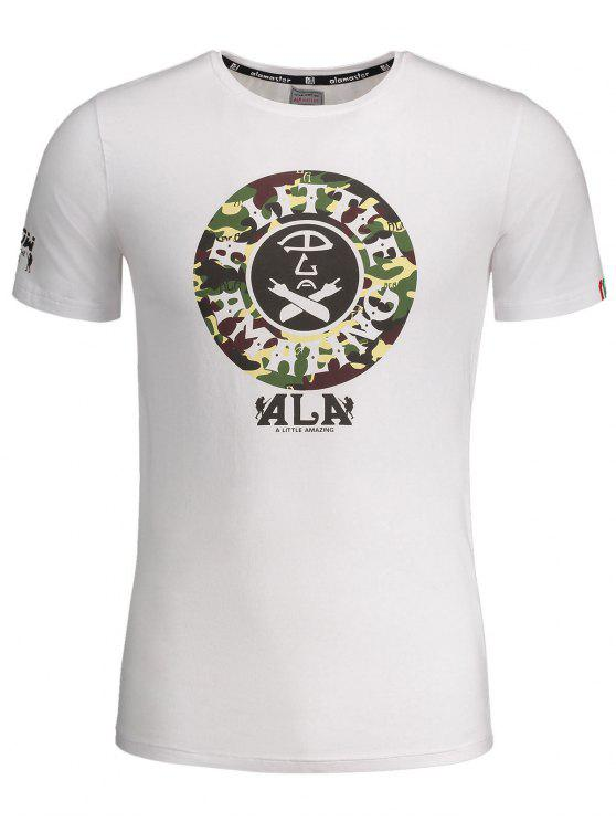 fashion Graphic Print Short Sleeve Camouflage Tee - WHITE L