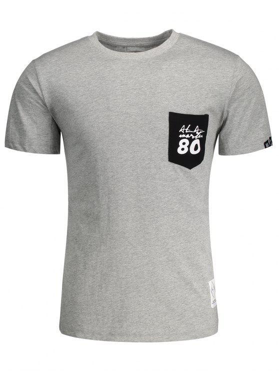 Short Sleeve Pocket Patch Letter T-shirt - Cinza L