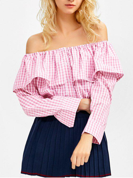 fancy Gingham Check Off The Shoulder Blouse - PINK XL