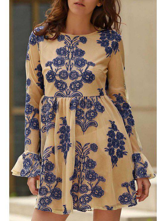 De vestir de manga larga del cuello de la cucharada de flores bordado - Azul S
