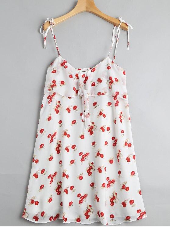 فستان طباعة الكرز قطع مثير مصغر - متعدد الألوان L