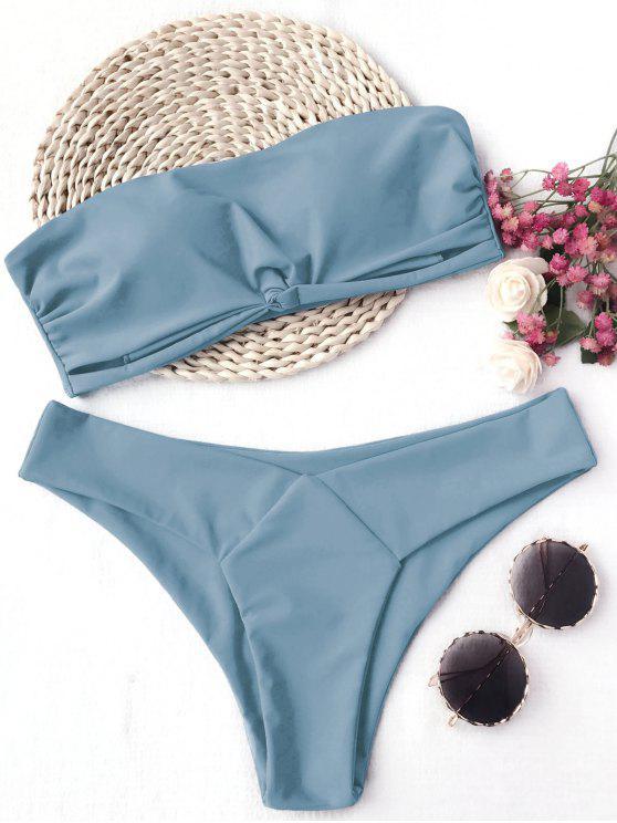 shops Knot Padded Bandeau Bikini Set - BLUE S