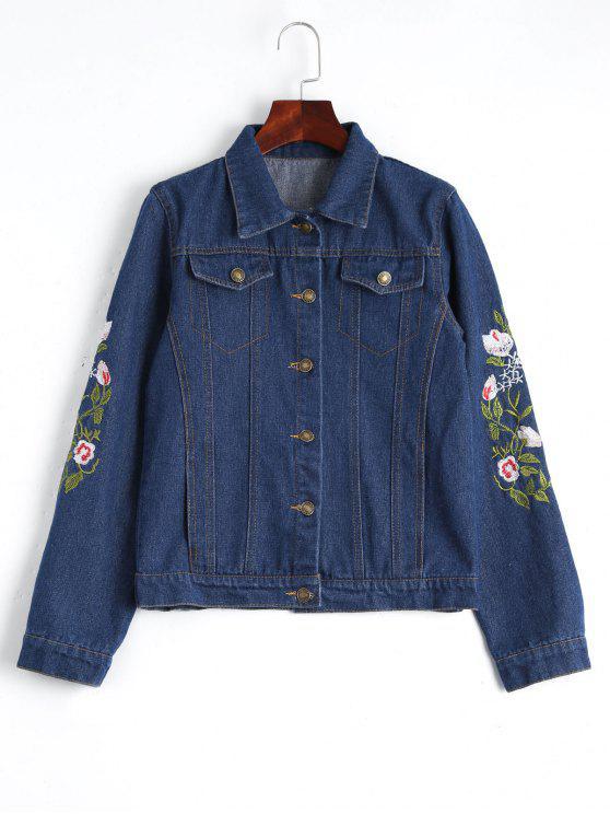 Denim Jacke mit Knöpfe und Blumenstickereien - Dunkel Blau S