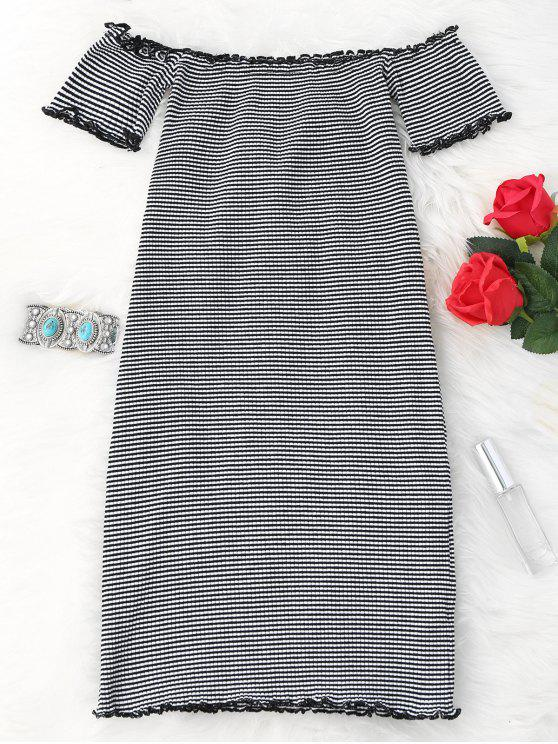 gestreift aus schulter mini bodycon kleid wei schwarz minikleider eine gr e zaful. Black Bedroom Furniture Sets. Home Design Ideas