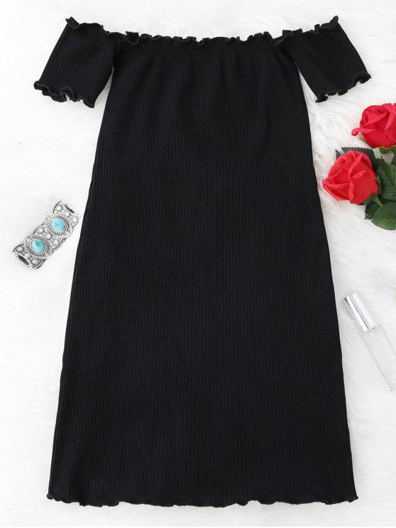 Vestido Ceñido Mini Fuera del Hombro con Volantes - Negro Única Talla