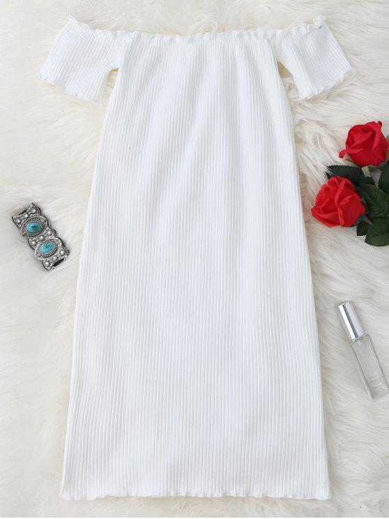 Vestido Ceñido Mini Fuera del Hombro con Volantes - Blanco Única Talla