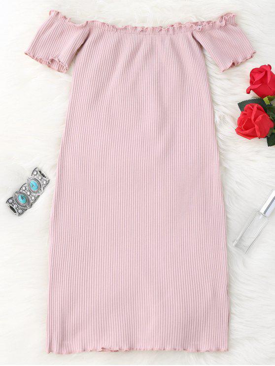 Vestido Ceñido Mini Fuera del Hombro con Volantes - Rosa Única Talla