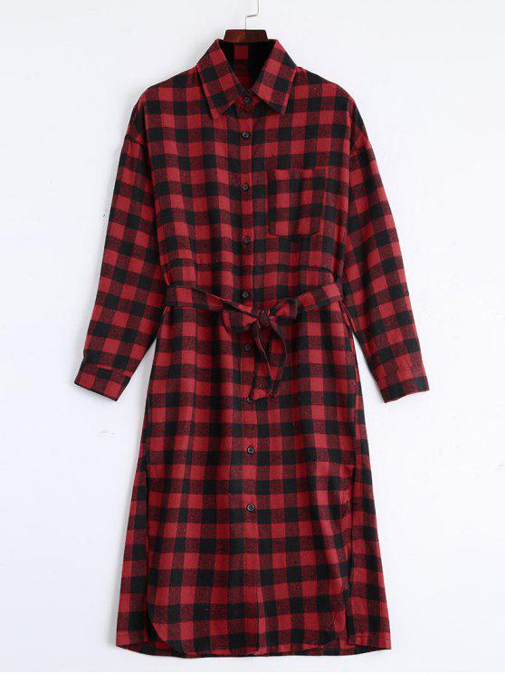 fancy Button Up Slit Belted Checked Dress - RED ONE SIZE