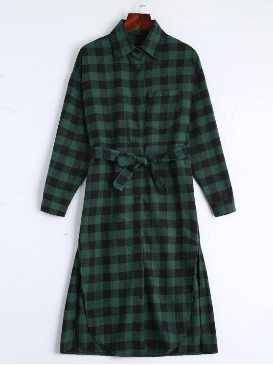 unique Button Up Slit Belted Checked Dress - BLACKISH GREEN ONE SIZE