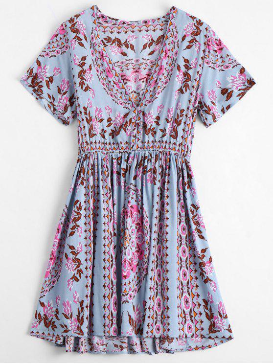 Vestido estampado acinturado com decote grande - Floral S