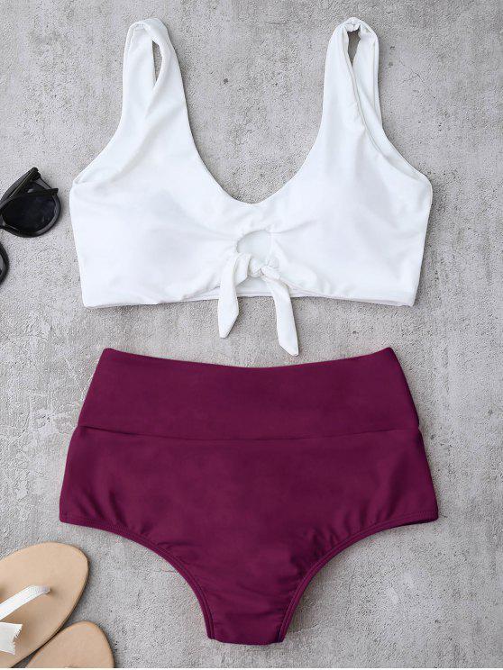 hot Knotted High Waisted Ruched Bikini Set - PURPLISH RED M