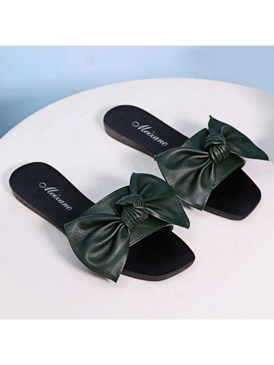 hot Flat Heel Faux Leather Bowknot Slippers - BLACKISH GREEN 37