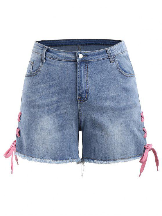 Lace Up Denim Mini Plus Size Shorts - Jeans Azul 3XL