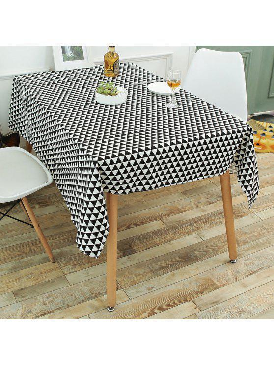 المطبخ الطعام ديكور الهندسة طباعة الكتان مفرش المائدة - أسود أبيض W55 بوصة * L78 بوصة