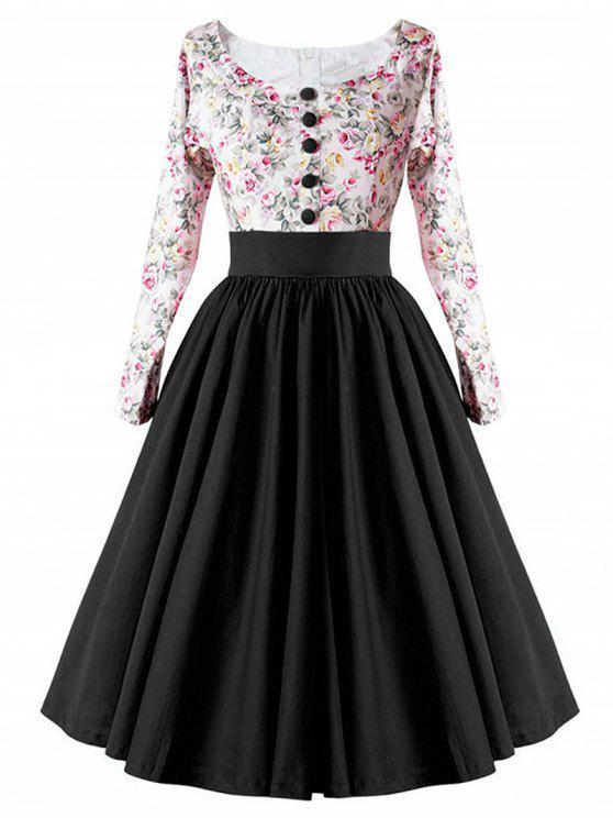 فستان كلاسيكي عالية الخضر زر - أسود S