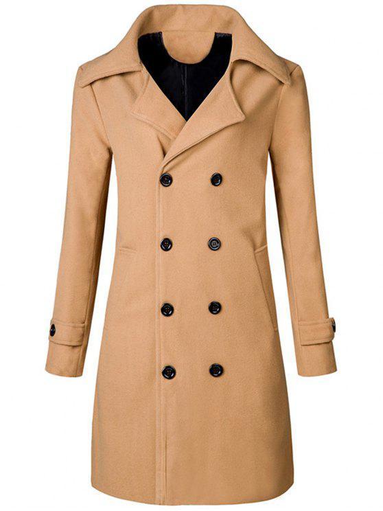 معطف الخندق طويل طية الصدر - كاكي XL