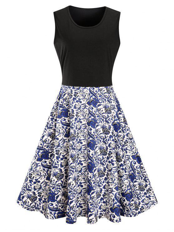 فستان الحجم الكبير طباعة الأزهار ميدي - أسود 3XL