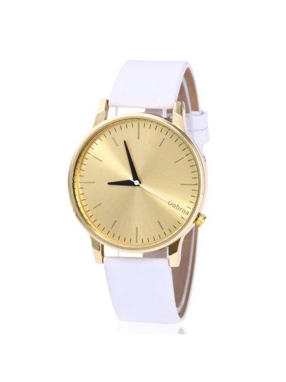 ساعة شريطها بجلد اصطناعي - أبيض