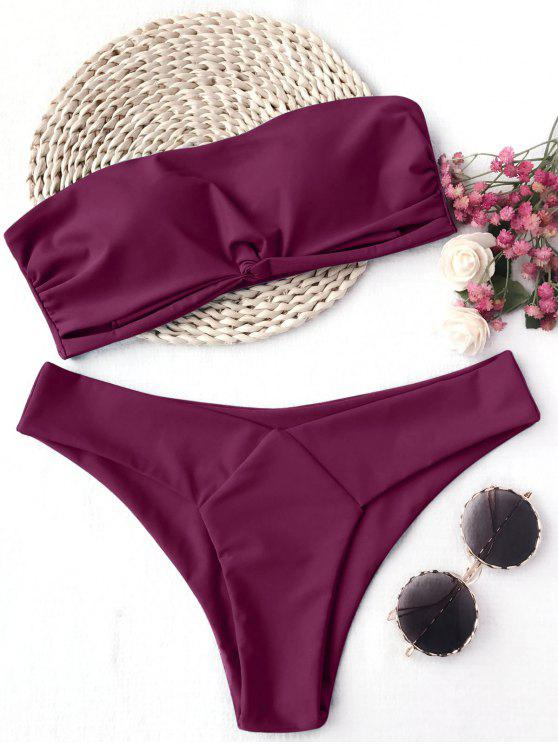 fancy Knot Padded Bandeau Bikini Set - BURGUNDY M