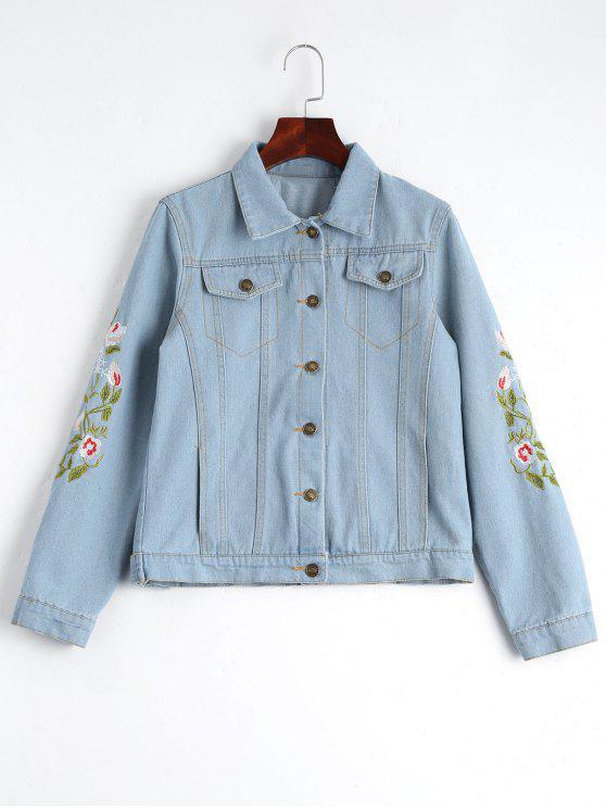 Chaqueta bordada floral del dril de algodón del botón para arriba - Azul Claro M