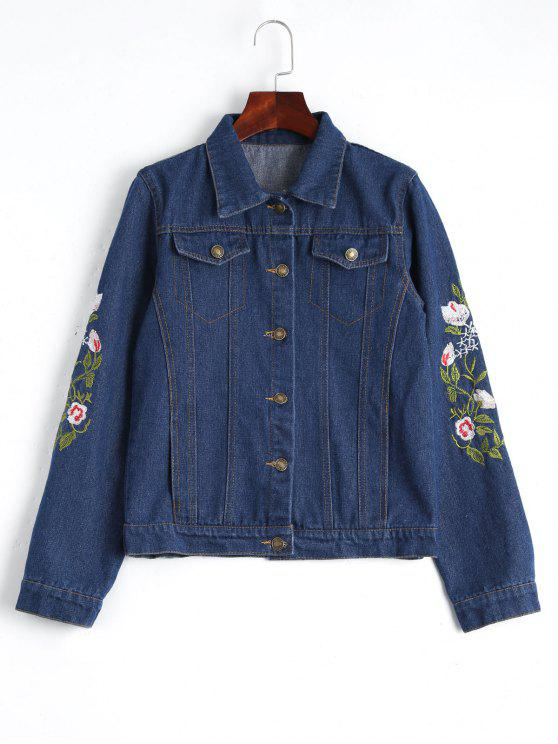 outfits Button Up Floral Embroidered Denim Jacket - DEEP BLUE L