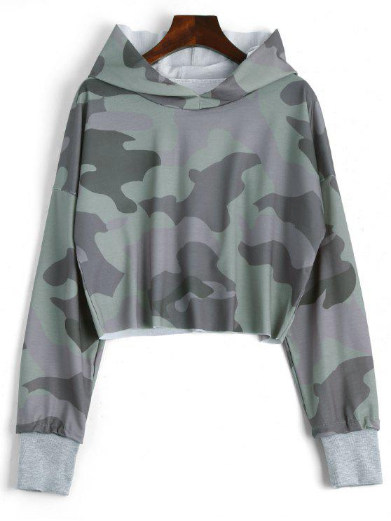 Drop Shoulder Camouflage Crop Hoodie - Camuflage, S