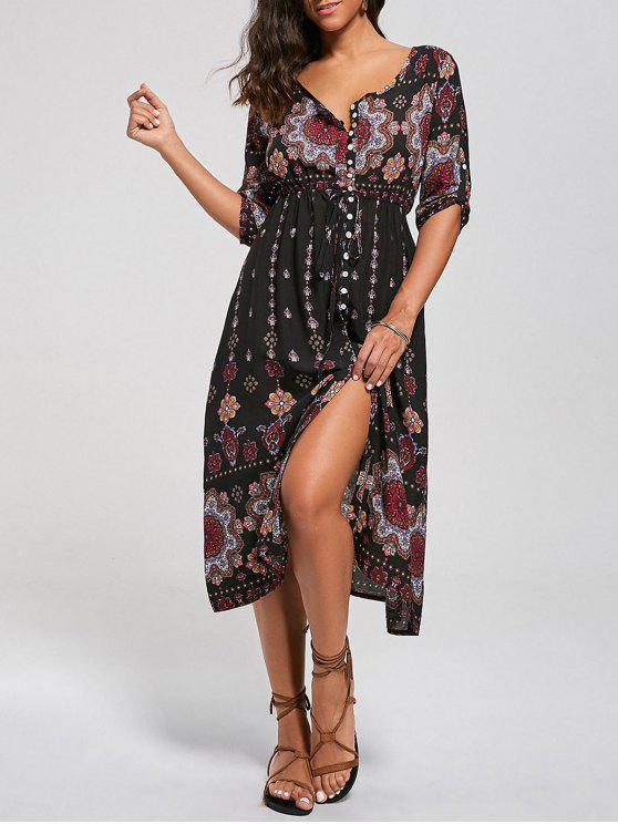فستان بوهيمي زر انقسام طباعة قبلية - مزيج ملون S