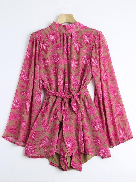 Bowknot con correa floral cortado tee shirt - Floral L