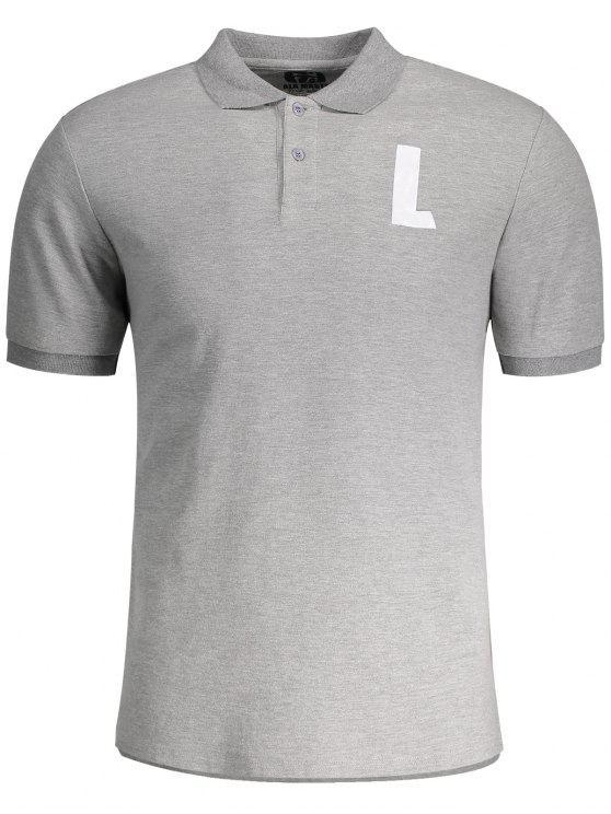 Hemd-Ausschnitt L-Muster Kurzarm-T-Shirt - Grau 2XL