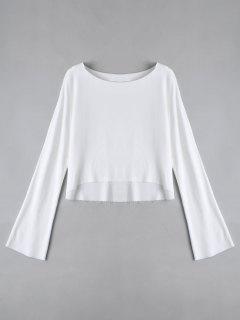Camiseta De Manga Larga Alta Baja - Blanco S